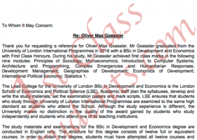LSE Letter